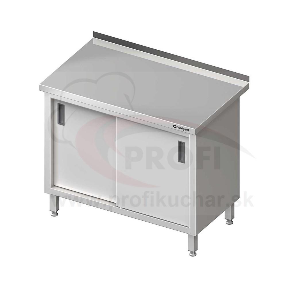Pracovný stôl krytovaný STALGAST® 1300x600mm, posuvné dvere
