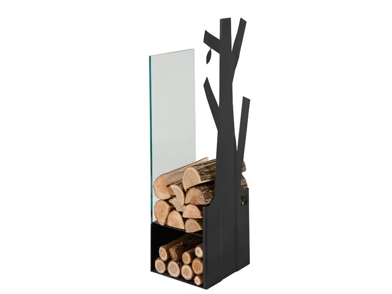 CAFDESIGN Zásobník na drevo sklo černý 270mm