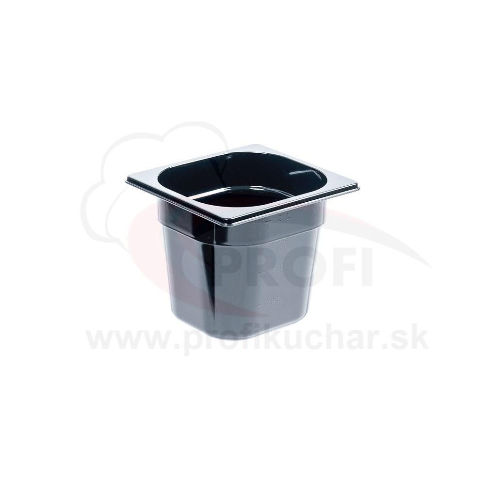 GN nádoba 1/6-150mm, čierný polykarbonát