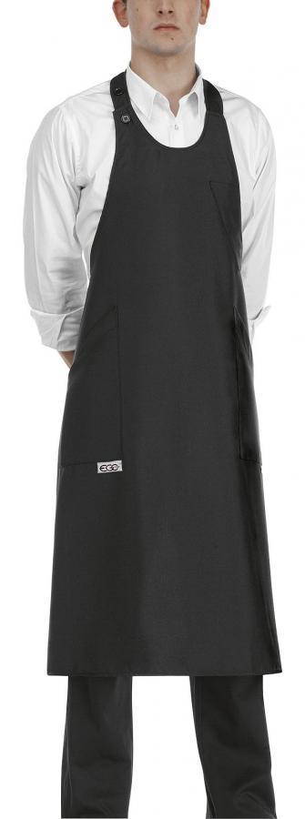 EGOCHEF Barmanská zástera vysoká - čierna 100 % polyester