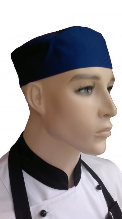 Modrá kuchárska čiapka