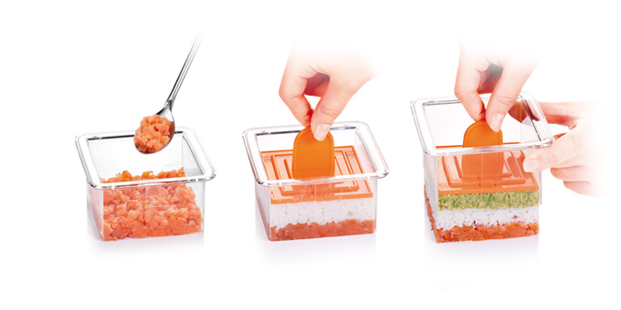 TESCOMA Formičky na tvarovanie pokrmov PRESTO Food Style, štvorce, 3 ks