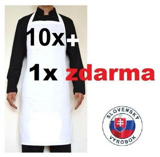 PROFIKUCHAR.SK Kuchárska zástera ku krku 100% bavlna: 10 + 1 zdarma Čierna,predné vrecko